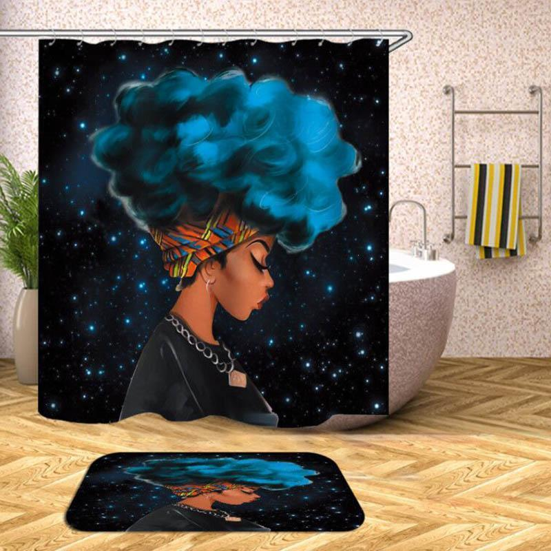 Home Black Girl Shower Curtain Afro Cortina De Ducha African Curtain Shower Black Girl Afro Bathroom Curtain Fabric African Girl Bath