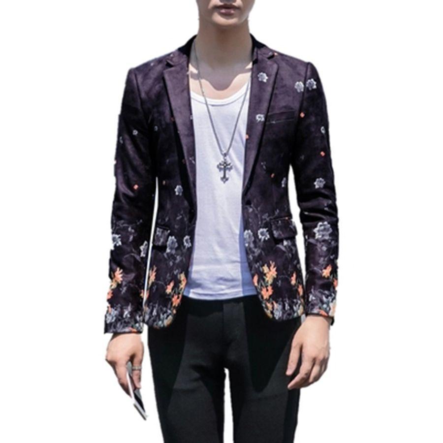 Acheter Luxe Homme Blazer Costume Décontracté Veste Slim Fit Partie De  Mariage Manteau Fleur Impression Motif Americana Hombre Homme Costumes  Vêtements De ... 0d30c2a0f17