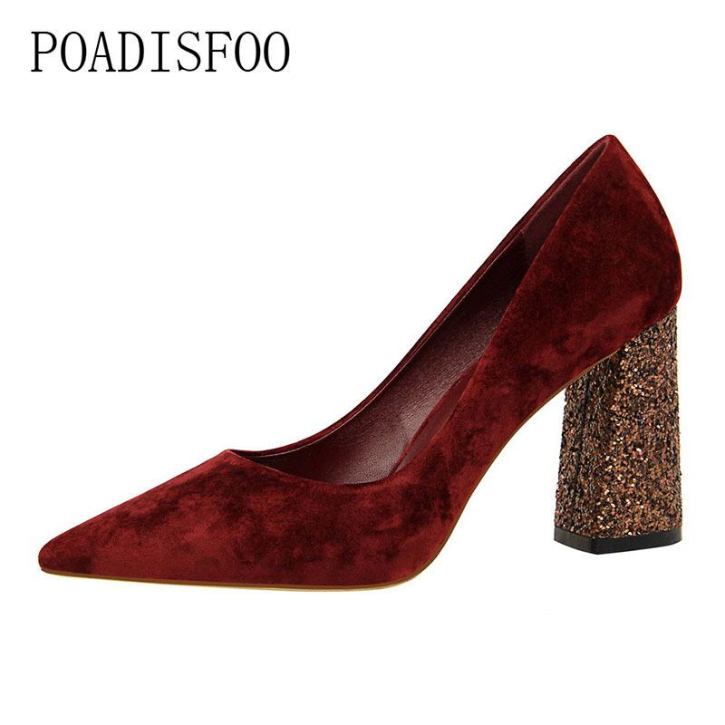 2019 Dress POADISFOO High Heels Shoes Sequins Thick With High Heeled Suede Shallow  Mouth Pointed Thin Sexy Nightclub Shoes .DS 828 28 High Heel Shoes Mens ... c826aae37602