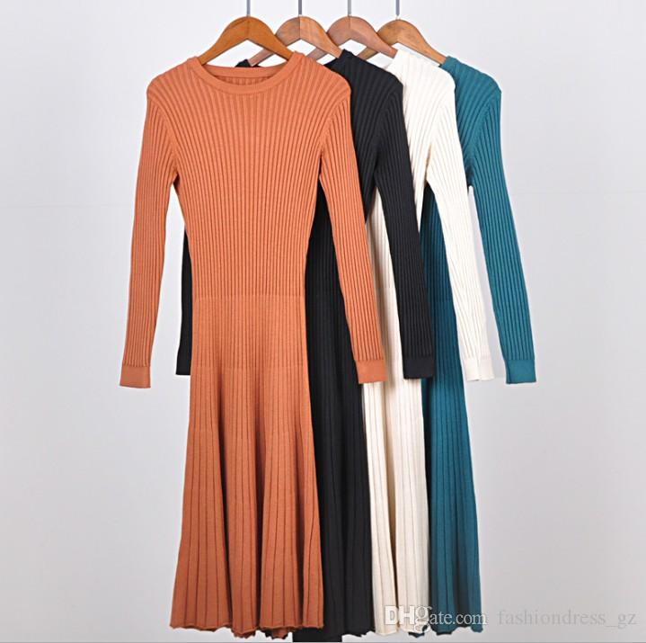 0ed963065abd5 Women Dress Knitted Blending Sweater Dress Long Sleeve Bodycon A line Crew  Neck Solid Knee Length Free Size Tight Sweater Dress