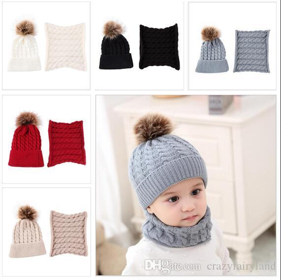 2019 Toddler Kids Hats With Neck Warmer Girl Boy Scarves Infant Winter Warm  Crochet Knit Baby Hats With Ball Kids Beanie Cap Scarf Set From  Crazyfairyland bd7f789d717b