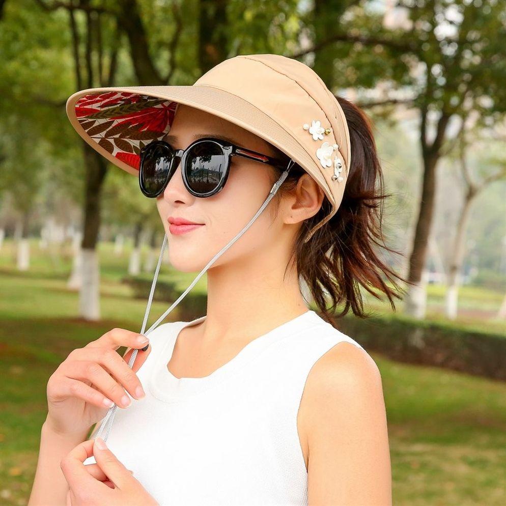 2c814e7d 2019 Summer Lady Cotton Sun Hats Women Packable Sun Visor Hat With Big  Heads Wide Brim UV Protection Beach Outdoor Caps #47399 From Feiteng007, ...