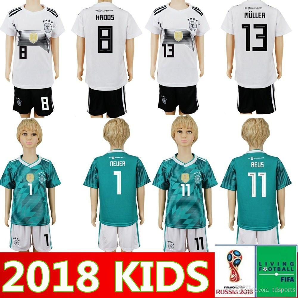 fcf1bbfeb33f World Cup 2018 GERMANY Kids Soccer Jersey Kit Home Away 18 19 OZIL ...