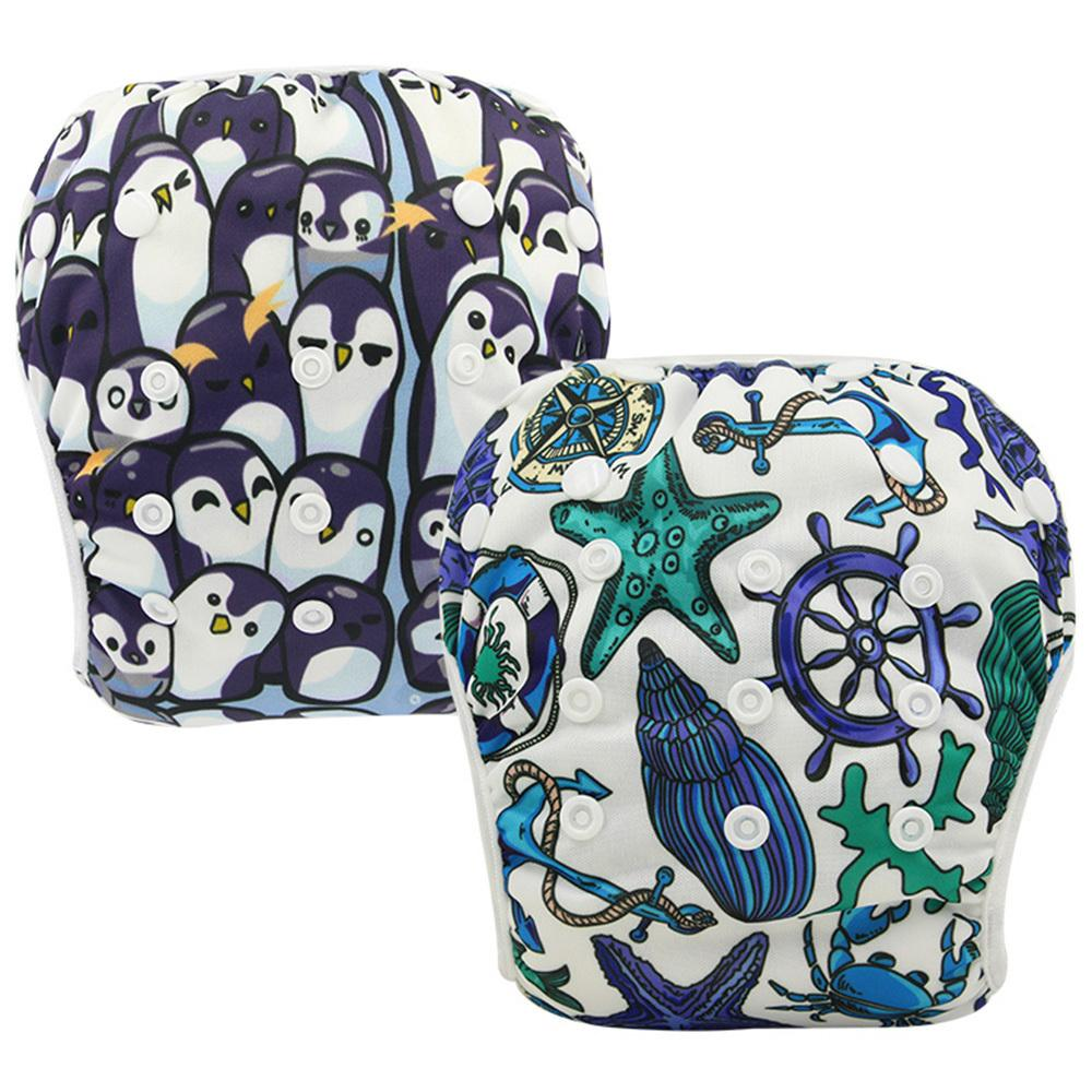 Ohbabyka Baby Swim Diaper Cover Animal Pattern Waterproof Swimming Diapers for Infants Swimwear Reusable Pocket Diaper Nappies