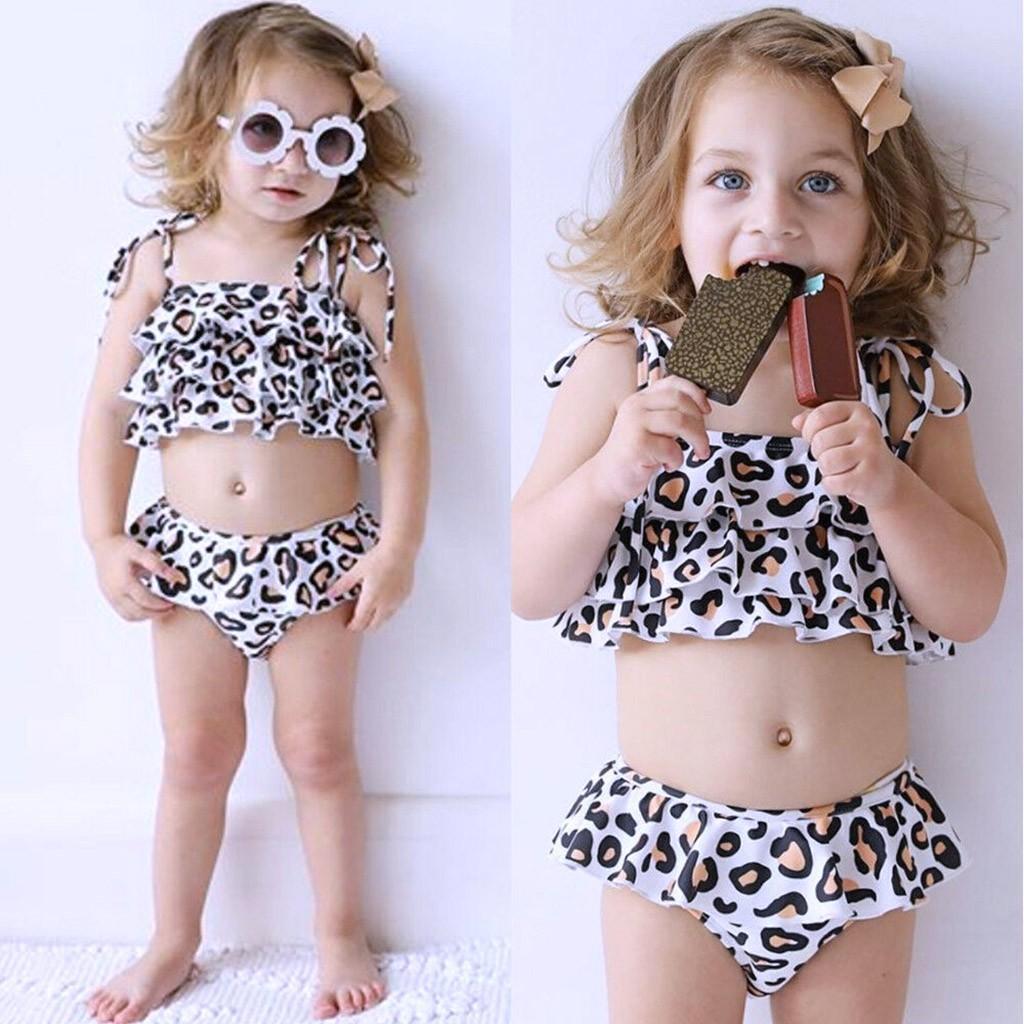 05e2a669d0 Telotuny Girls Swimwear Children Kids Girl Bikini Beach Leopard Print  Swimsuit+Shorts Swimwear Set Swimming suit#40