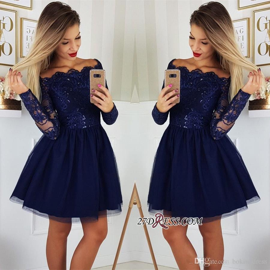 8fd413ea8ee 2019 Fashionable Long Sleeves Lace A Line Homecoming Dresses Tulle Applique Short  Prom Cocktail Party Dresses Plus Size Vestidos De Festa Dress On Sale ...