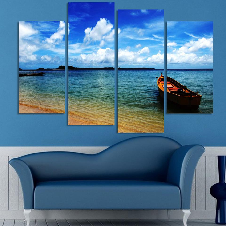 New Arrival Rushed Unframed 4 Panels Sea View Boat Picture Hd Canvas Print  Painting Modern Artwork Wall Art For Home Decor