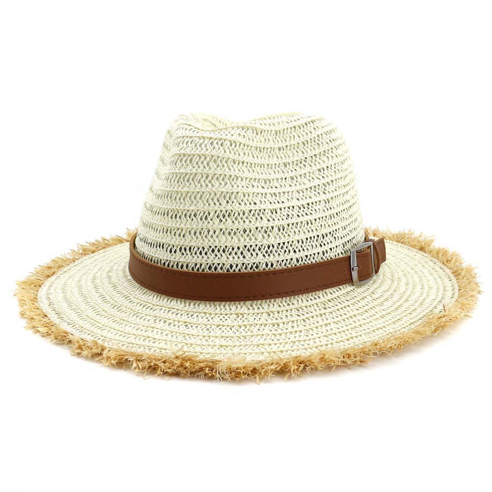 9be6ad291bc306 Summer Wide Furry Brim Paper Straw Jazz Hat Unisex Women Outdoor Sun Visor  Hat Belt Buckle Decor Beach Panama Cowboy Cap Bucket Hats For Women  Kentucky ...