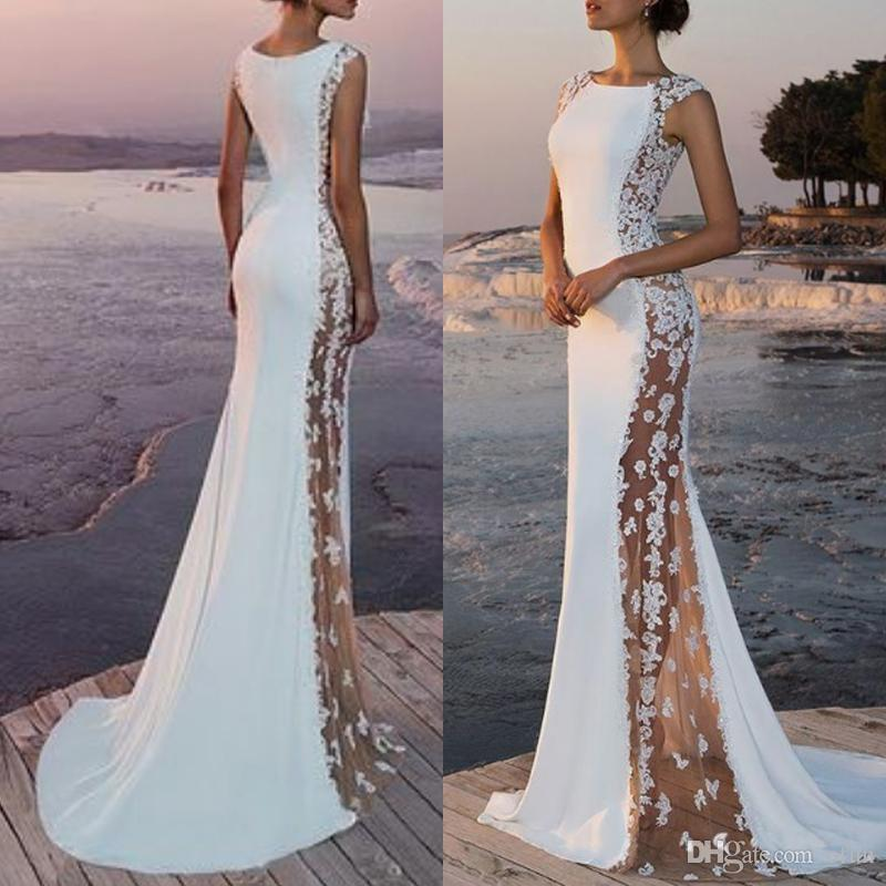 2019 Fabulous Chiffon Bateau Neckline See Through Mermaid Wedding Dress Floor Length Cap Sleeve Zipper With Appliques