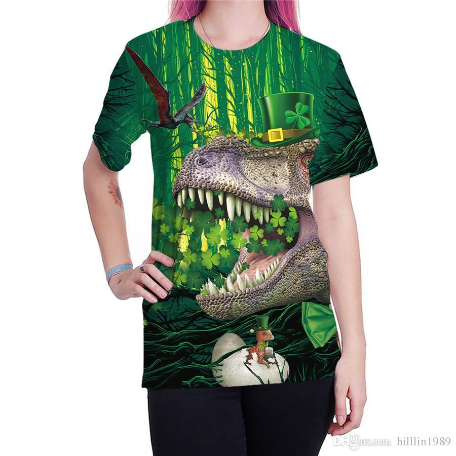 3c7471558c5b 2019 Women St. Patrick Day Blouses Casual Dinosaur Shirts Short Sleeve Animal  Print Tops Green Leprechaun Hat Streetwear From Hilllin1989