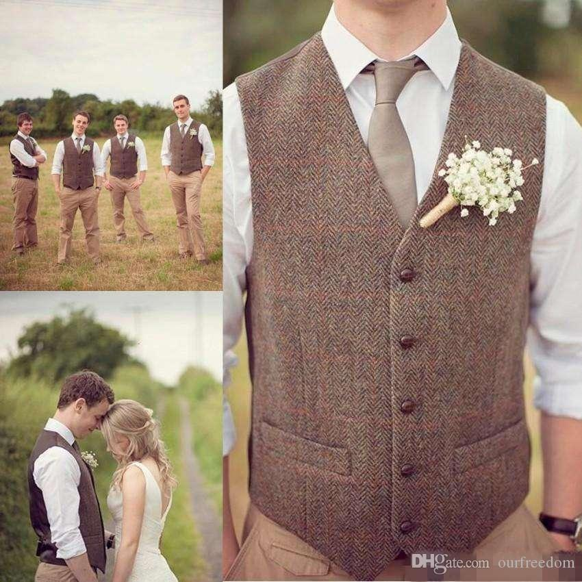 Vendita calda Country Farm Matrimonio Lana marrone a spina di pesce Gilet Tweed Custom Made Groom Vest Slim Fit Mens Suit Gilet Prom Wedding Gilet