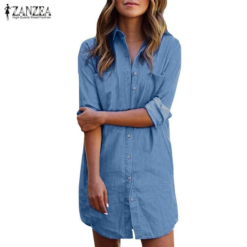 Plus Size Denim Dress Women Sundress ZANZEA 2019 Casual Jeans Shirt Dresses