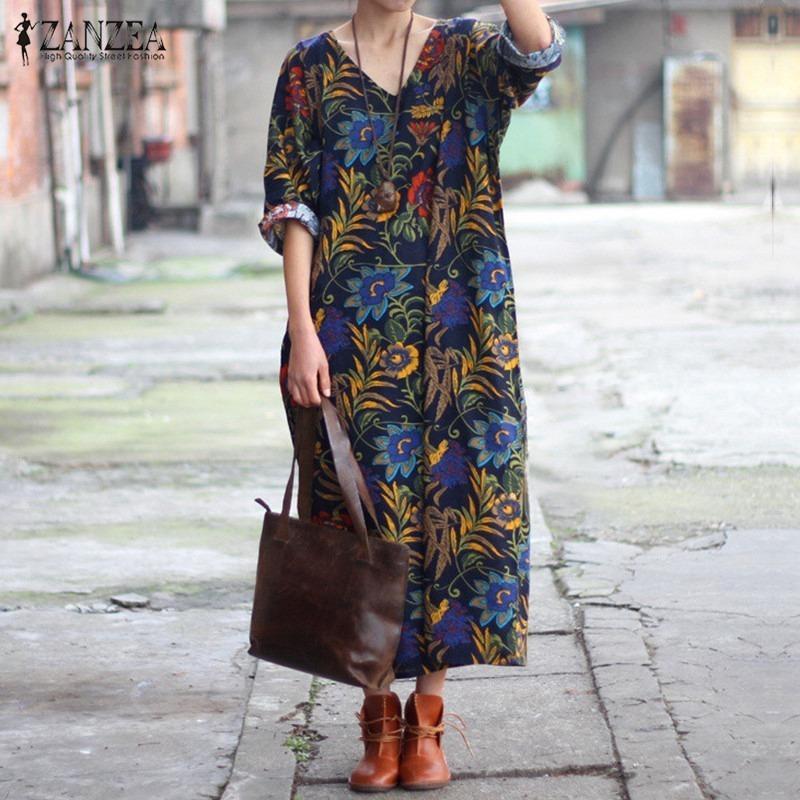 8404a0abaf 2019 Zanzea Fashion Women Floral Print Loose Maxi Long Dress Casual ...