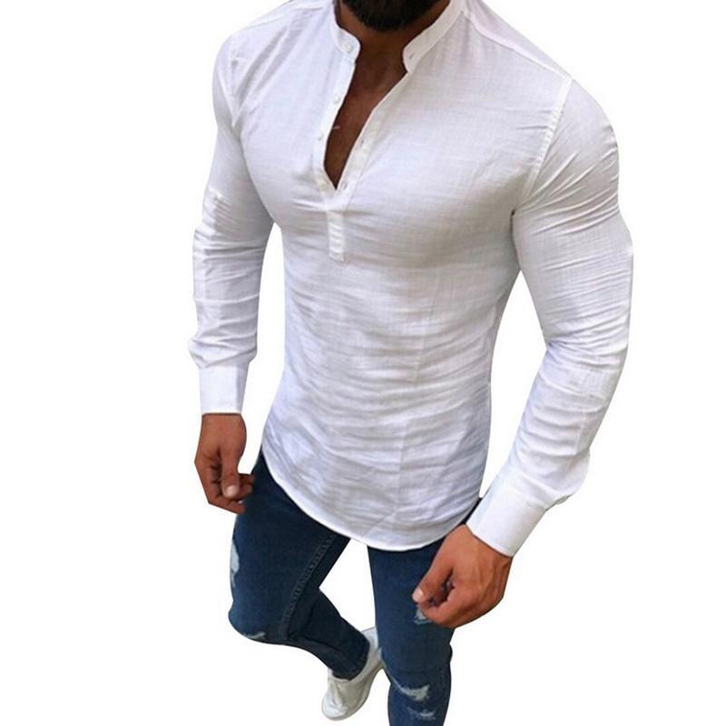 b617775606d8 Acquista SHUJIN Camicia Uomo Casual In Lino Solido Abbigliamento Uomo Moda  Manica Lunga Scollo A V Camicie Eleganti Aderenti Camicia Bianca Sociale  Plus ...
