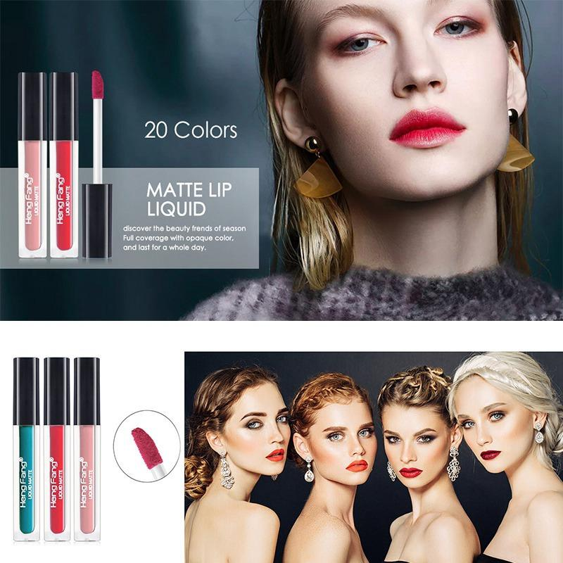 Natural Long-lasting Waterproof Matte Lipstick 20 Colors velvet Lip Gloss Makeup Easy to wear Non-Stick Cup