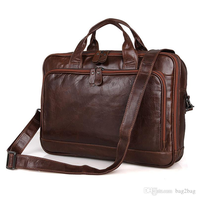 7f7e7122c4 Genuine Cowhide Leather Bags For Men Business Briefcase Portfolio Men  Handbags Man Crossbody Bag 15.6 Leather Laptop Bags Men S Tote Bag Attache  Case ...