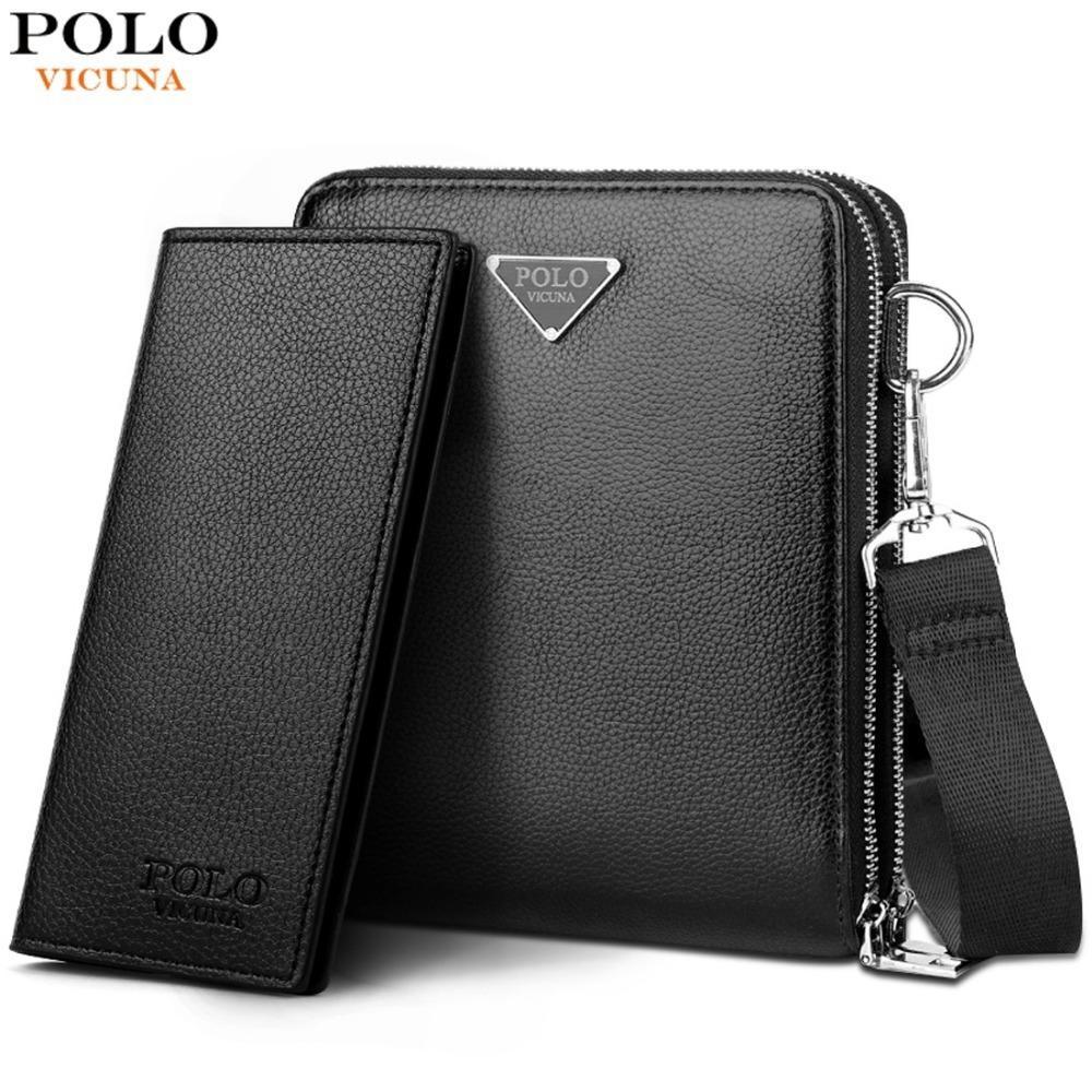 96d48d86c Vicuna Polo Brand Double Pocket Men Bag Messenger Bags Leather Men ...