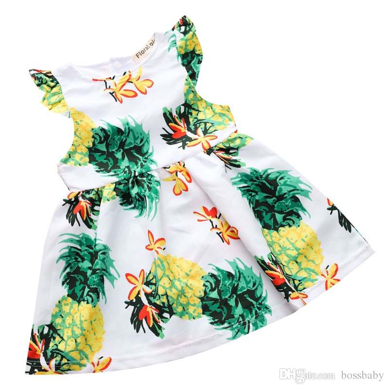 cc990a9bda 2019 Girl Dresses Baby Girl Designer Clothes Maternity Printed Pineapple  Flower Leisure Short Sleeve Princess Dress Cotton White 40 From Bossbaby