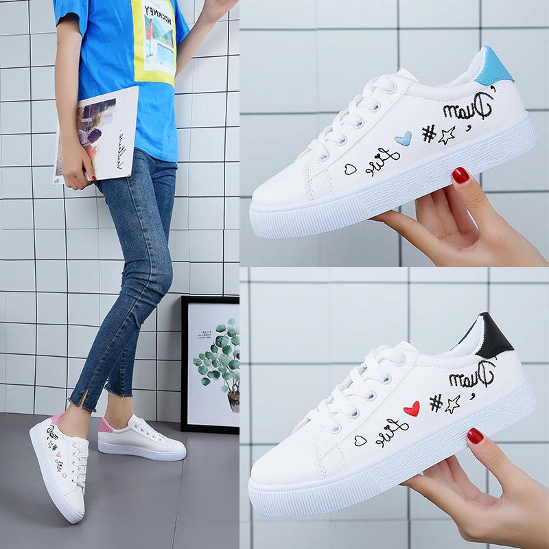 9e65bc6cd936 Sexy2019 Leather Small White Woman Joker Flat Bottom Canvas Shoe Korean  Sneakers Skate Shoes Gold Shoes Mens Casual Shoes From Chagall