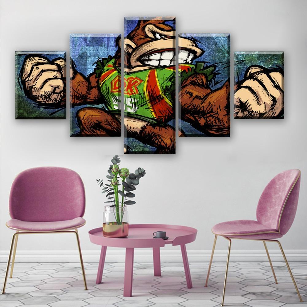 5 Piece HD Cartoon Wall Pictures Super Mario Bros Canvas Painting for Home Decor Modern Wall Art Video Game Poster Decoration