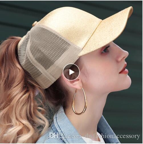 Apparel Accessories Provided Ponytail Baseball Cap Women Adjustable Messy Bun Caps Black Hat Girls Casual Cotton Snapback Summer Mesh Hats Women's Baseball Caps