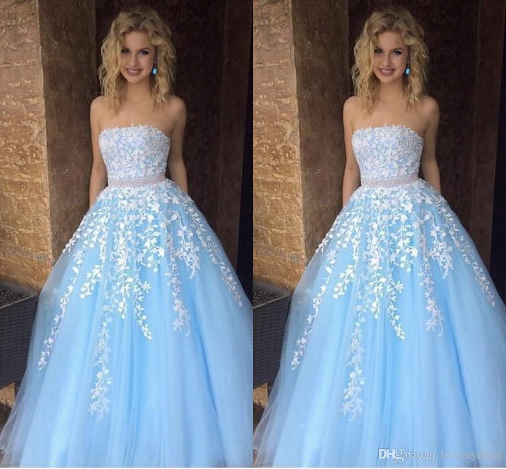 fe477a38a25 Blue White Lace Special Occasion Dresses Prom Dress 2019 Strapless Beaded  Sashes Formal Elegant Evening Dress Gowns Party Long Cheap 2019 Prom Dresses  From ...