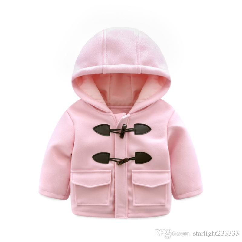 0ad2288d5c97 Girls Wear Autumn And Winter New 1 3 Years Old Baby New Year Pink Horn  Buckle Quilted Woolen Coat Toddlers Winter Coats Little Girls Winter Coats  From ...