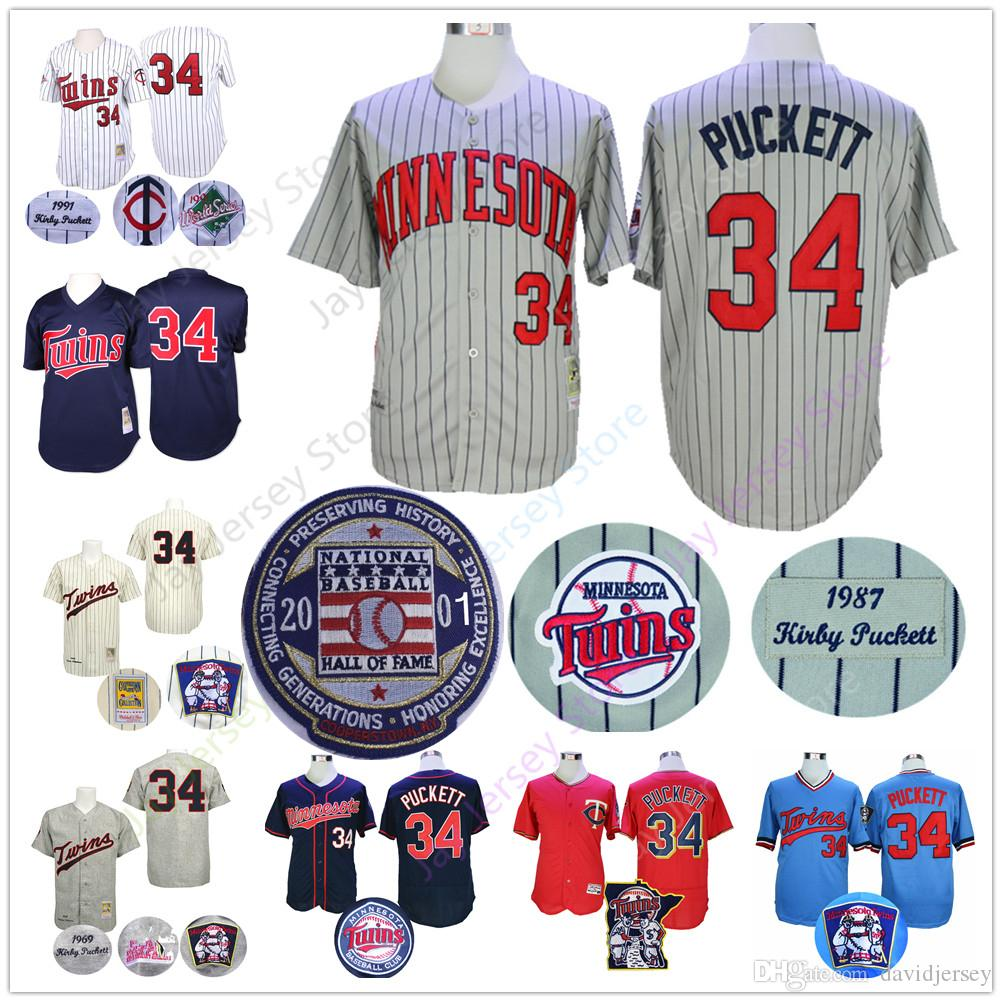 sports shoes 8717a 6b345 Kirby Puckett Jersey Twins Cooperstown 1991 WS World Series Minnesota  Baseball Jerseys Grey Pinstripe White Blue Cream Pullover