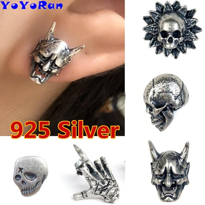 166eec69c 2019 Retro 925 Silver Evil Skeleton Stud Earrings Ear Cuff Gothic Punk Vampire  Skull Head Prevent Allergy Earing Jewelry Gift From Zchfly, $5.88 | DHgate.