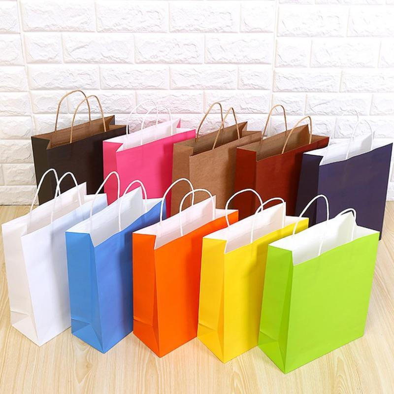 10pc Paper Bags Gift Packaging Recyclable Wedding Party Candy Jewelry Bread Bags Kraft Paper Shopping