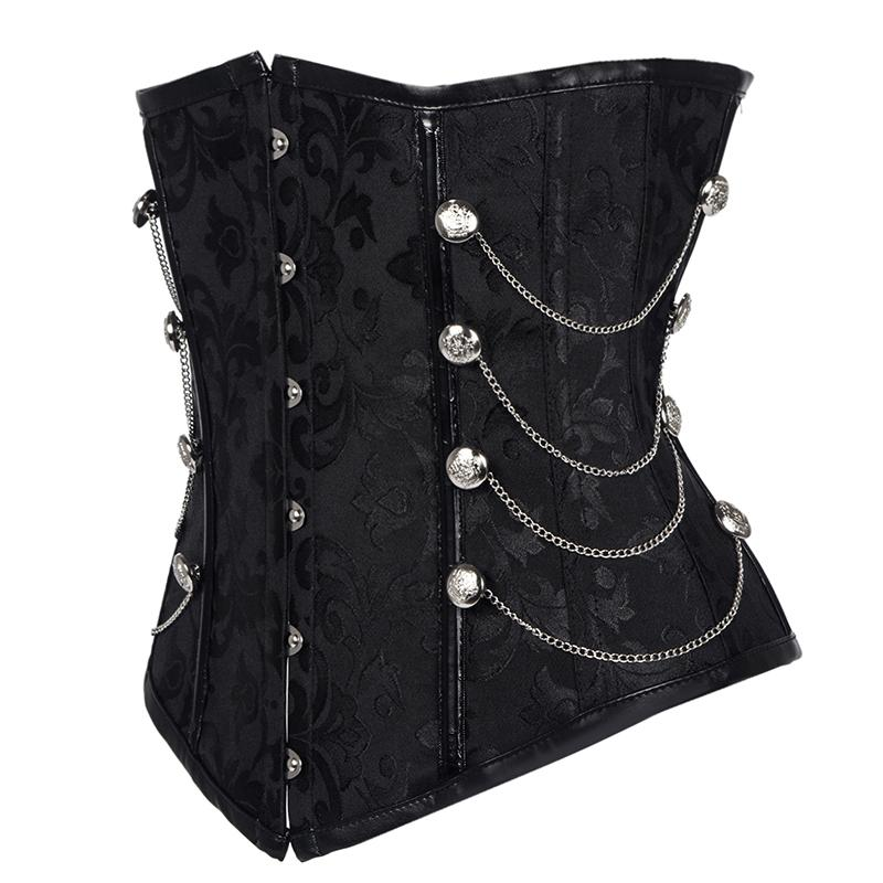 ecf777e1424 2019 Hot Sale New Women Black Brocade Steampunk Corset Gothic Clothing Sexy  Bustier Lace Up Boned Top Corset Underbust Body Shaper From Silan
