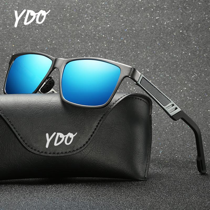 YDO Men Sunglasses Polarized 2019 New Fashion Al&Mg Alloy Frame Spring Hinge Temples UV400 Vintage Sun Glasses Summer Shades