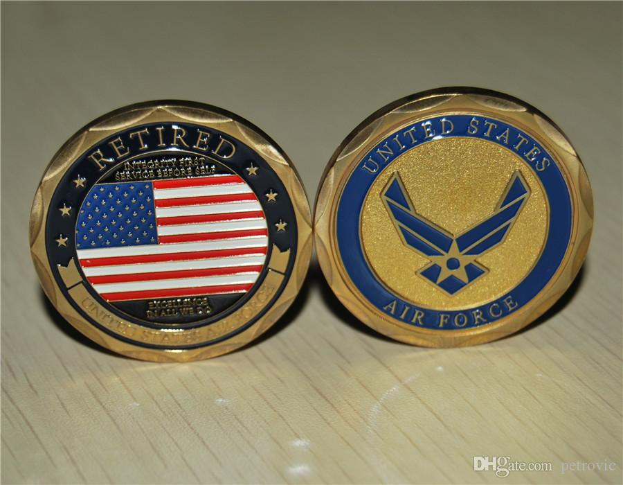 Free Shipping 20pcs/lot,United States Retired Air Force Challenge Coin -  Fxcellence In All We Do Challenge Coin