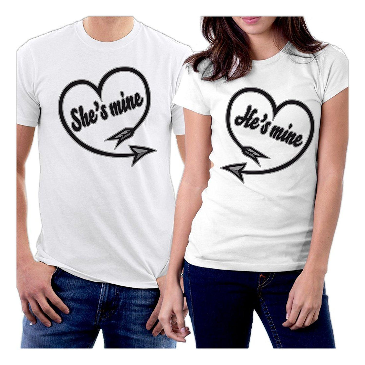Online Shirt Store Men's New Style Crew Neck Short Sleeve A Team She's Mine & He's Mine Hearts Couple Tee Shirt