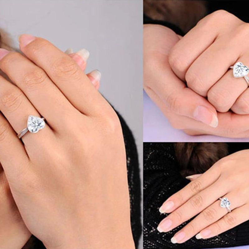 30% silver ring and Platinum filled with 3 CZ Diamond for women wedding fashion heart style rings jewelry 7 8 9 10 LSR048