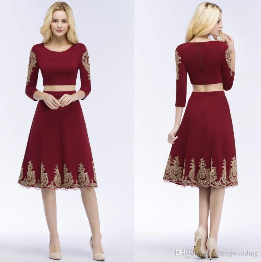 4af780e9894a Two Piece Burgundy Lace Short Homecoming Cocktail Dress 2019 Robe De ...