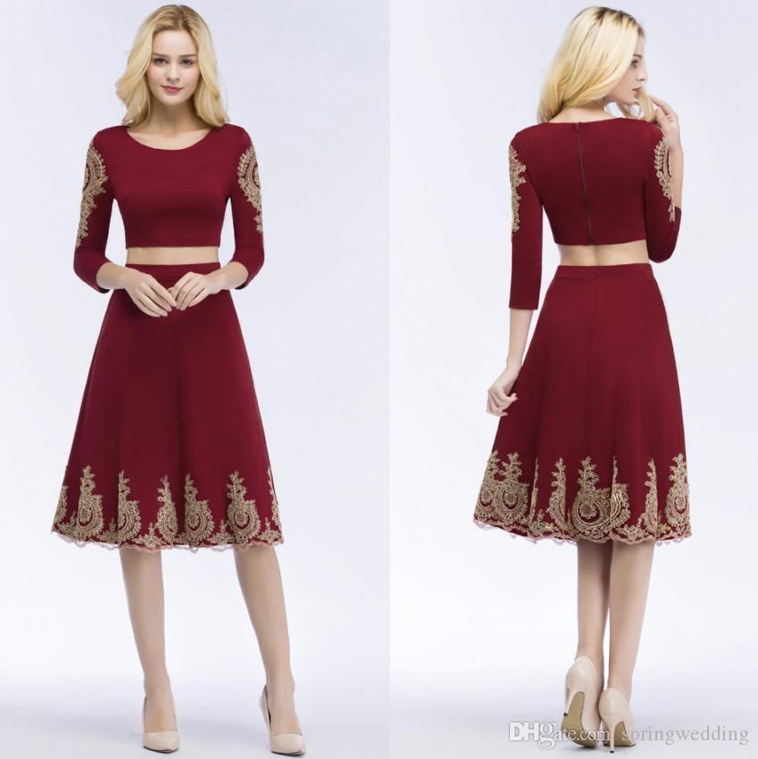 b25c818e9c9 Two Piece Burgundy Lace Short Homecoming Cocktail Dress 2019 Robe De Soiree  Courte Evening Gowns Vestido De Festa CPS872 Designer Dresses Party Wear ...