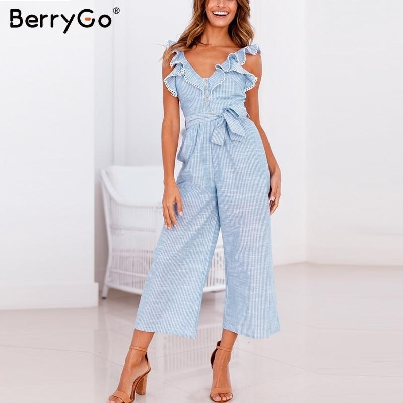 Berrygo Women Rompers Striped Playsuit Ruffled Button Jumpsuit Casual Summer Wide Leg Overalls Cotton Linen Sleeveless Q190508