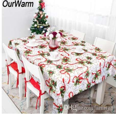 Ourwarm New Year White Table Cloth Beautiful Christmas Flowers