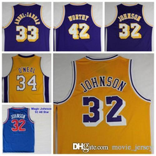 free shipping 8f266 4ced8 Los Angeles Basketball Jerseys 33 Kareem Abdul Jabbar Lakers 32 Johnson #42  Artest Worthy 44 Jerry West 34 Shaquille ONeal O Neal