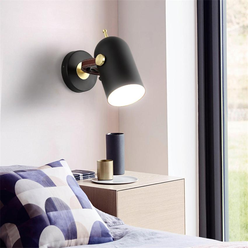 new concept 08aec 1a0b5 Nordic Wall Lights Loft Vintage Bedside Lights Led Wall Lamp Sconces Light  Metal Bedroom Rotatable Ac90-260v Novelty Lighting