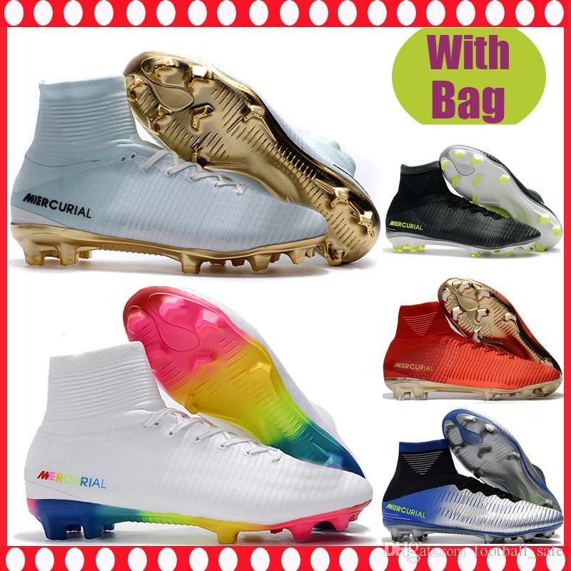 7337784dd4191 Compre Homens Baratos Alta Tornozelo Sapatos De Futebol CR7 ...