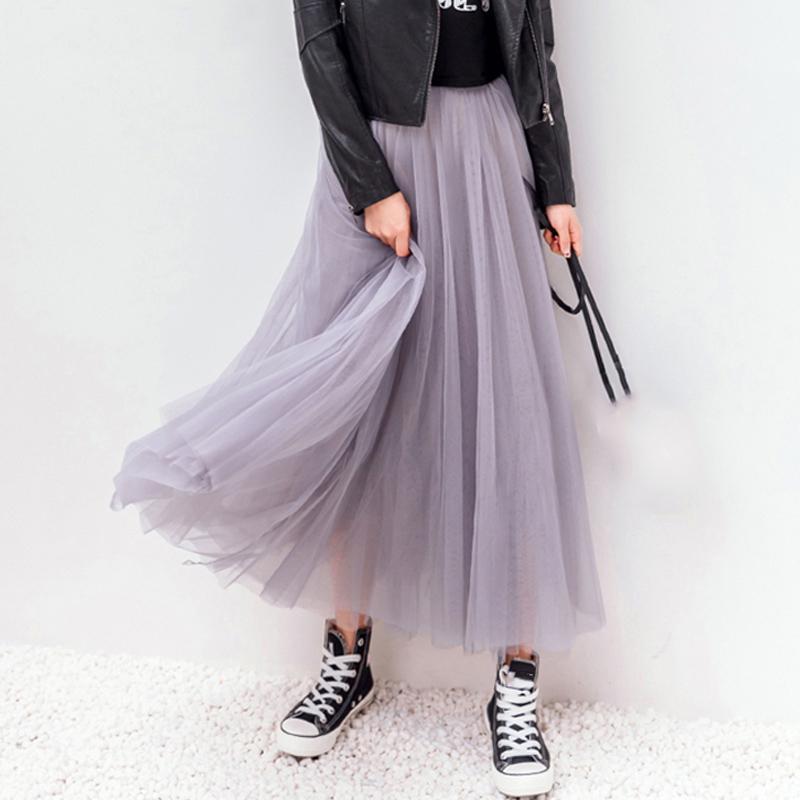 b10881275b Compre Livagirl 2019 Primavera Verano Faldas Vintage Para Mujer Elástico De  Cintura Alta Falda De Malla De Tul Falda Larga Plisada Tutu Jupe Longue A   37.17 ...