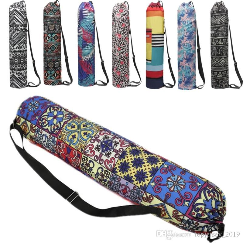 Yoga Mat Bag Large Capacity Gym Bag Canvas Palm Trees Printing Yoga Mat Pilates Bags Women Backpack Sport Fitness Handbag #181999
