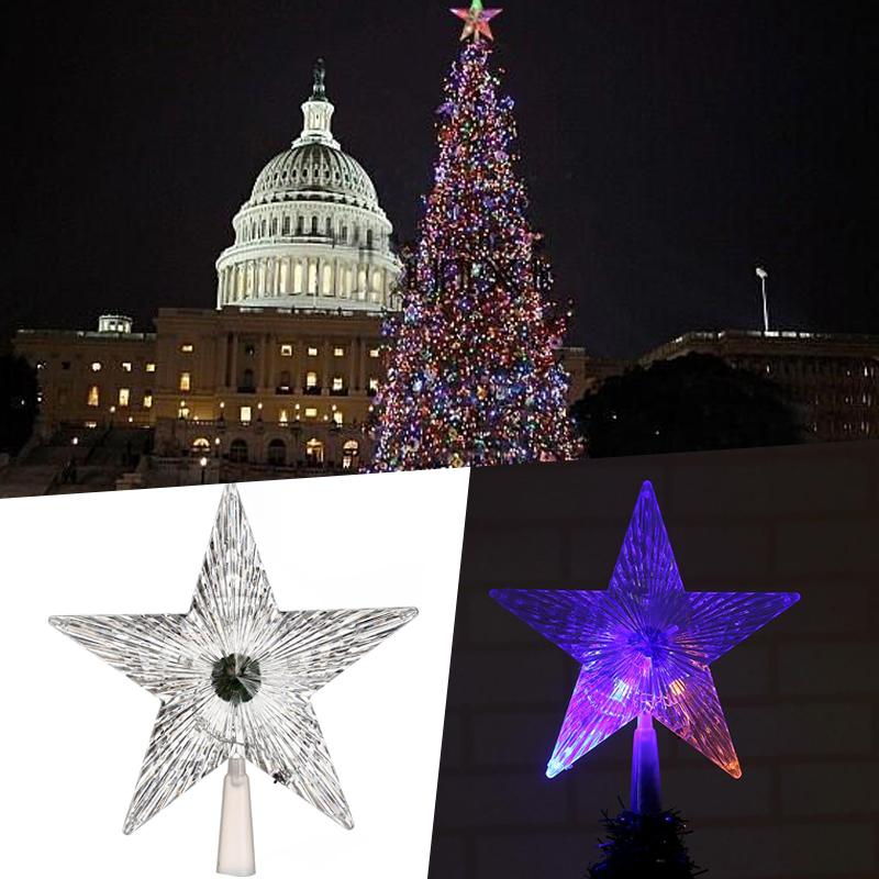 Led Lights Give Capitol Tree Cooler >> 2019 Led Five Pointed Star Lamp Christmas Tree Topper Decoration