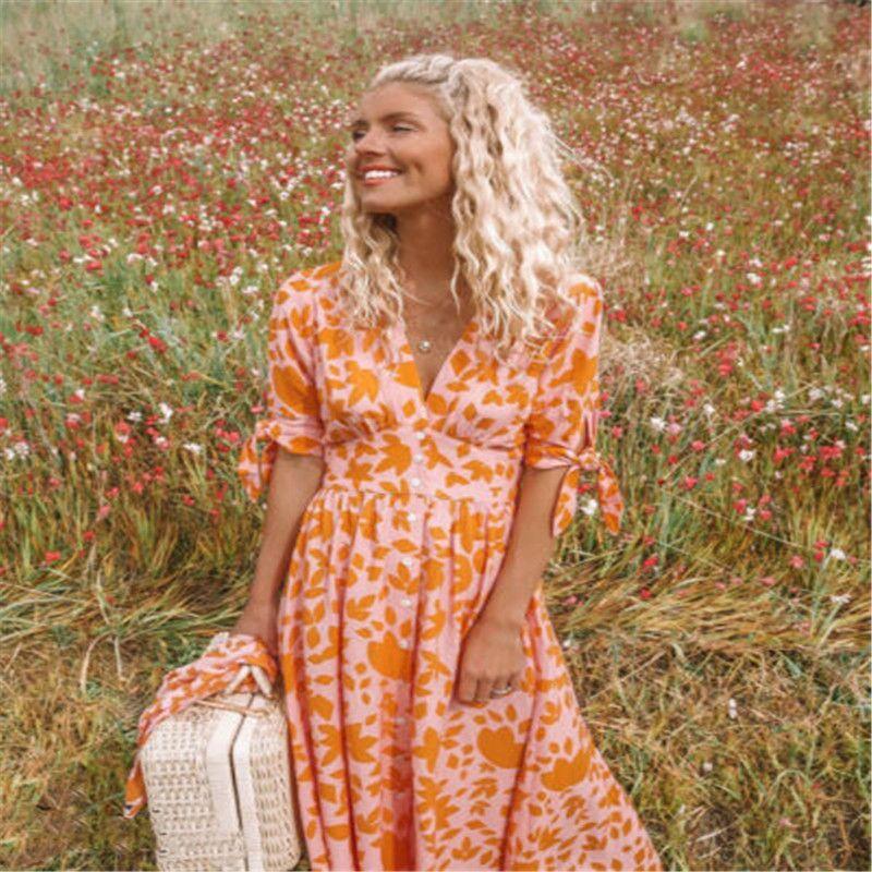 2ded654d834 US Women Boho Floral Long Maxi Dress Evening Party Beach Dresses ...