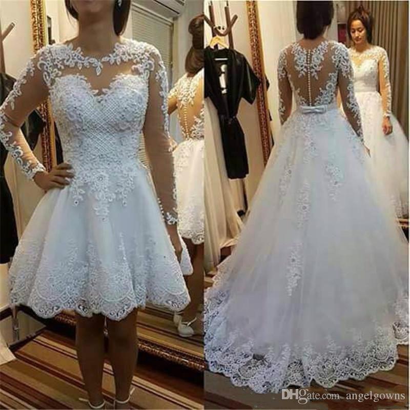 Knee Length Wedding Dresses With Detachable Long Skirt Sheer Long Sleeves Major Pearls Beads Lace Applique Arabic Garden Bridal Wedding Gown