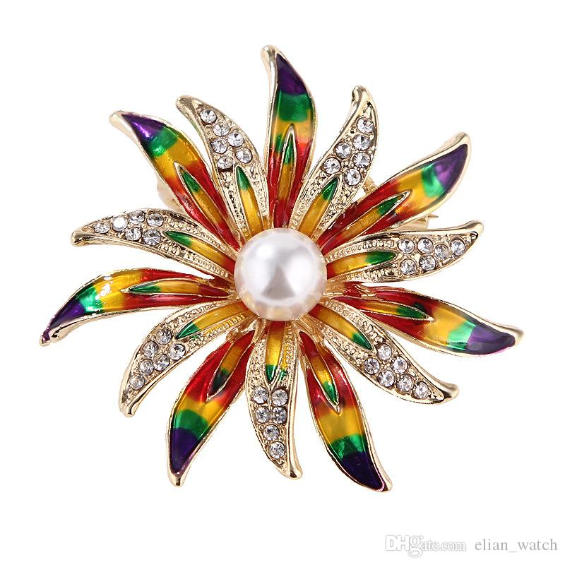 2019 Colorful Enamel Brooches Crystal Vintage Sun Flower Brooches for Women Large Brooch Pin Fashion Dress Coat Accessories Cute Jewelry