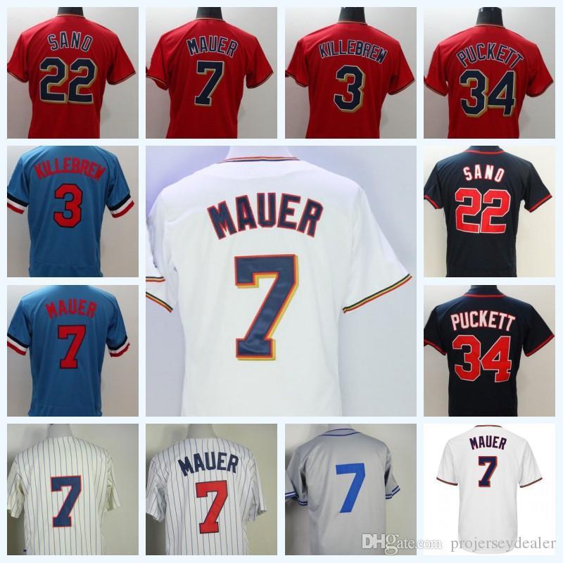 d9555936bab ... 2019 7 joe mauer minnesota 34 kirby puckett 22 miguel sano baseball  jersey double stitched name