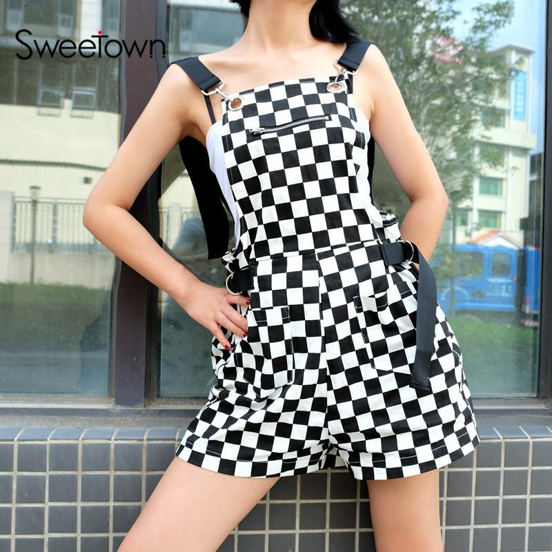 87ca8e2fbe29 Sweetown Checkerboard Jumpsuit Short Korean Style Women Autumn 2018  Playsuit Overalls Streetwear Cotton Rompers Womens Jumpsuit D19011603  Online with ...